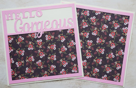 Hello Gorgeous - Premade Scrapbook Double (2) Page 12x12 Layout