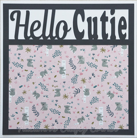 Hello Cutie - Premade Scrapbook Page 12x12 Layout