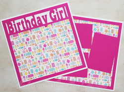 Birthday Girl  - Premade Scrapbook Double (2) Page 12x12 Layout