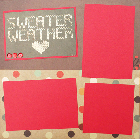 SWEATER WEATHER Basic Premade Scrapbook Double (2) 12x12 Page Layout - CLEARANCE