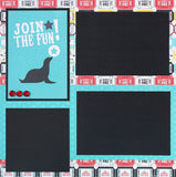 JOIN THE FUN Circus Basic Premade Scrapbook Double (2) 12x12 Page Layout - CLEARANCE