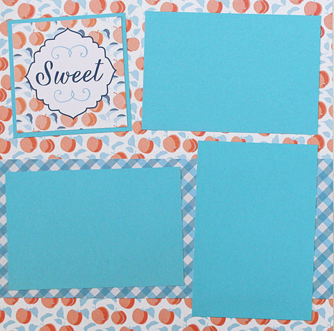 SWEET Country Peaches Basic Premade Scrapbook Double (2) 12x12 Page Layout