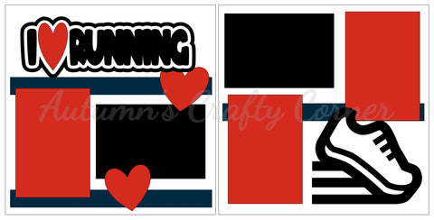 I Heart Running - Scrapbook Page Kit
