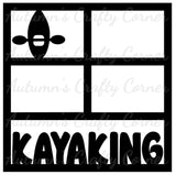 Kayaking - 4 Frames - Scrapbook Page Overlay Die Cut - Choose a Color