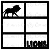 Lions - - Zoo - 6 Frames - Scrapbook Page Overlay Die Cut - Choose a Color
