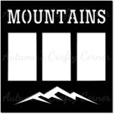 Mountains - 3 Vertical Frames - Scrapbook Page Overlay Die Cut - Choose a Color