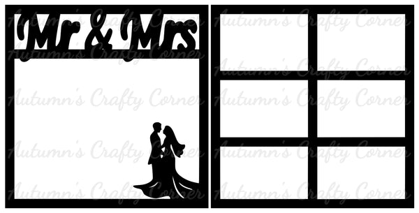 Mr & Mrs - Wedding - Scrapbook Page Overlay Set - Choose a Color