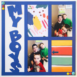 My Boys- 4 Vertical Frames - Scrapbook Page Overlay Die Cut - Choose a Color