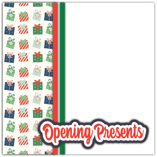 Opening Presents - Printed Premade Scrapbook Page 12x12 Layout
