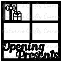 Opening Presents - 4 Frames - Scrapbook Page Overlay Die Cut - Choose a Color