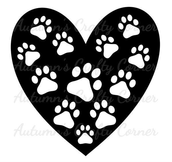 PawPrints in a Heart  - Dog - Scrapbook Page Overlay Die Cut - Choose a Color