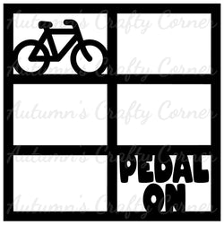 Pedal On - Bicycles - 6 Frames - Scrapbook Page Overlay Die Cut - Choose a Color