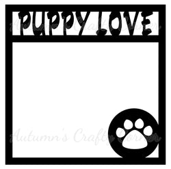Puppy Love - Scrapbook Page Overlay Die Cut - Choose a Color