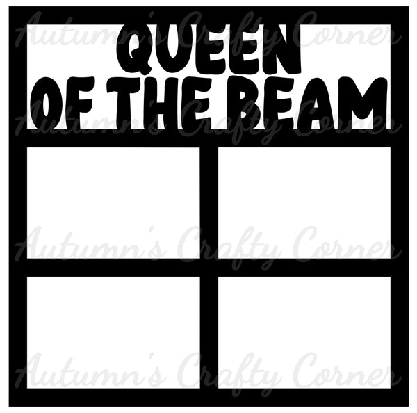 Queen of the Beam - Gymnastics - 4 Frames - Scrapbook Page Overlay Die Cut - Choose a Color