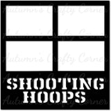 Shooting Hoops - Basketball - Scrapbook Page Overlay Die Cut - Choose a Color