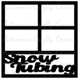 Snow Tubing - 4 Frames - Scrapbook Page Overlay Die Cut - Choose a Color