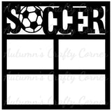 Soccer - 4 Frames - Scrapbook Page Overlay Die Cut - Choose a Color