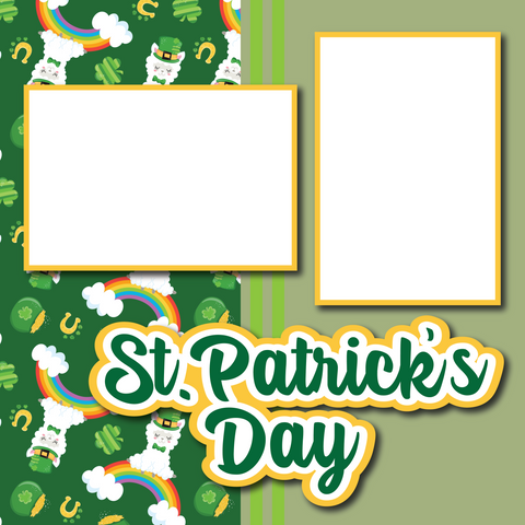 St. Patrick's Day - Printed Premade Scrapbook Page 12x12 Layout