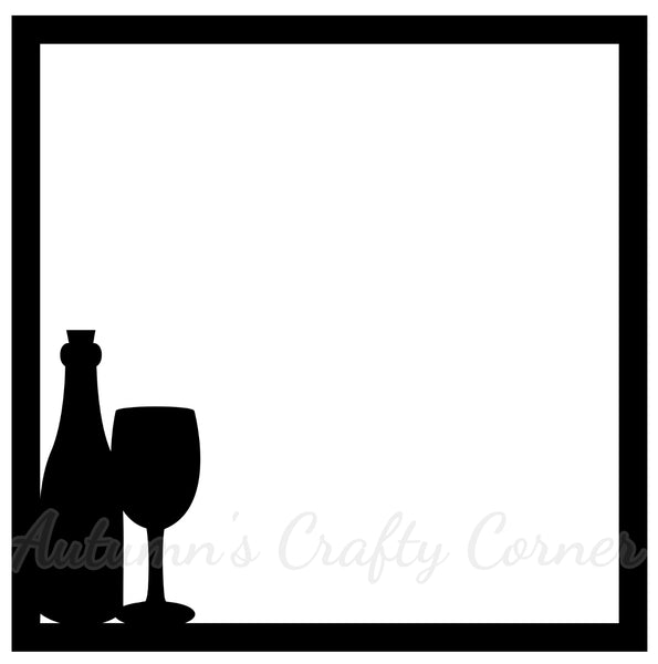 Wine Bottle - Scrapbook Page Overlay Die Cut - Choose a Color