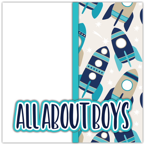 All About Boys - Printed Premade Scrapbook Page 12x12 Layout