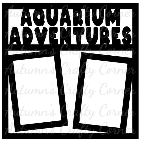 Aquarium Adventures - 2 Vertical Frames - Scrapbook Page Overlay Die Cut - Choose a Color