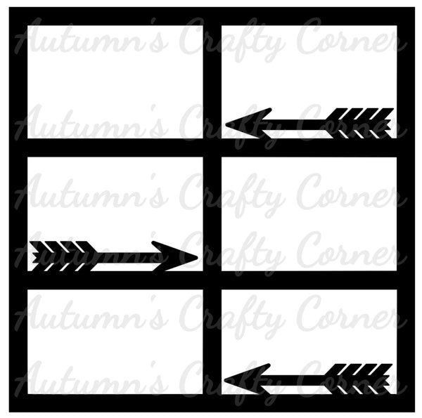 Arrows - 6 Frames - Scrapbook Page Overlay Die Cut - Choose a Color
