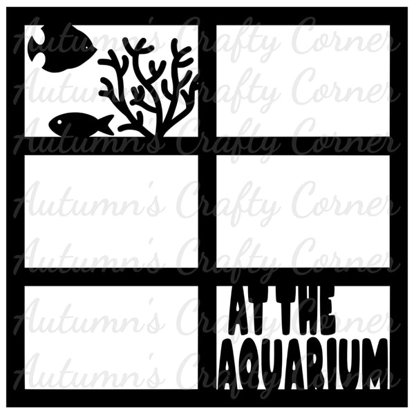 At the Aquarium - 6 Frames - Scrapbook Page Overlay Die Cut - Choose a Color