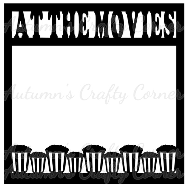 At the Movies - Popcorn Border - Scrapbook Page Overlay Die Cut - Choose a Color