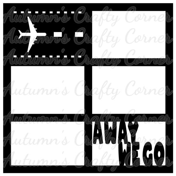 Away We Go - Airplane Runway - 6 Frames - Scrapbook Page Overlay Die Cut - Choose a Color