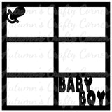 Baby Boy - Pacifier - 6 Frames - Scrapbook Page Overlay Die Cut - Choose a Color