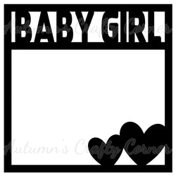 Baby Girl - Hearts - Scrapbook Page Overlay Die Cut - Choose a Color