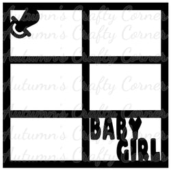 Baby Girl - Pacifier - 6 Frames - Scrapbook Page Overlay Die Cut - Choose a Color