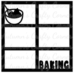 Baking - 6 Frames - Scrapbook Page Overlay Die Cut - Choose a Color