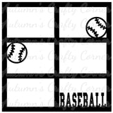 Baseball - 6 Frames - Scrapbook Page Overlay Die Cut - Choose a Color