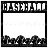 Baseball - Border - Scrapbook Page Overlay Die Cut - Choose a Color