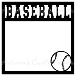 Baseball - Scrapbook Page Overlay Die Cut - Choose a Color