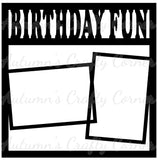 Birthday Fun - 2 Frames - Scrapbook Page Overlay Die Cut - Choose a Color