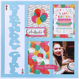 Birthday Girl - 4 Vertical Frames - Scrapbook Page Overlay Die Cut - Choose a Color