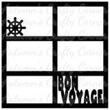 Bon Voyage - 6 Frames - Scrapbook Page Overlay Die Cut - Choose a Color
