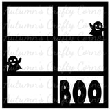 BOO - Halloween - 6 Frames - Scrapbook Page Overlay Die Cut - Choose a Color