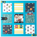 9 Square Frames - Scrapbook Page Overlay Die Cut - Choose a Color