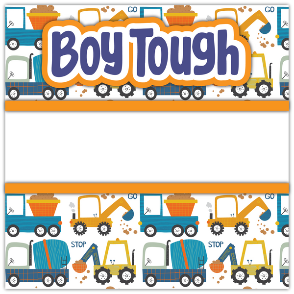 Boy Tough - Printed Premade Scrapbook Page 12x12 Layout