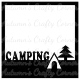 Camping - Tent - Tree - Scrapbook Page Overlay Die Cut - Choose a Color