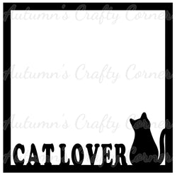 Cat Lover - Scrapbook Page Overlay Die Cut - Choose a Color