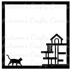 Cat Tower - Scrapbook Page Overlay Die Cut - Choose a Color
