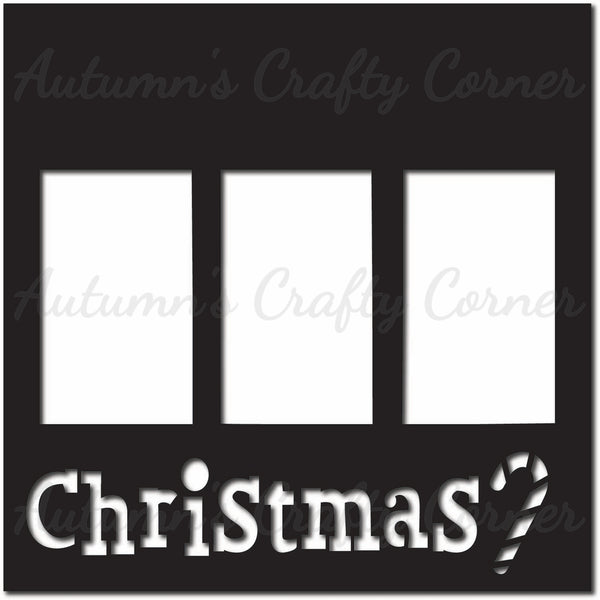 Christmas - 3 Vertical Frames - Scrapbook Page Overlay Die Cut - Choose a Color