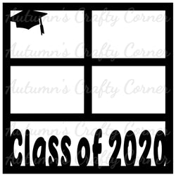 Class of 2020 - 4 Frames - Scrapbook Page Overlay Die Cut - Choose a Color