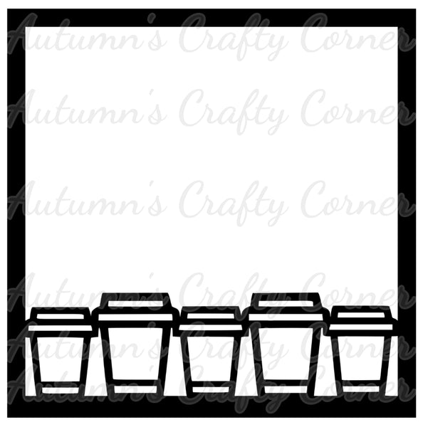 Coffee Cup Border - Scrapbook Page Overlay Die Cut - Choose a Color