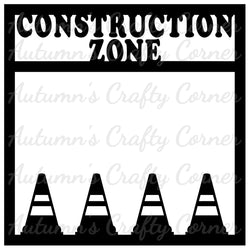 Construction Zone - Scrapbook Page Overlay Die Cut - Choose a Color