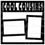 Cool Cousins - 2 Frames - Scrapbook Page Overlay Die Cut - Choose a Color